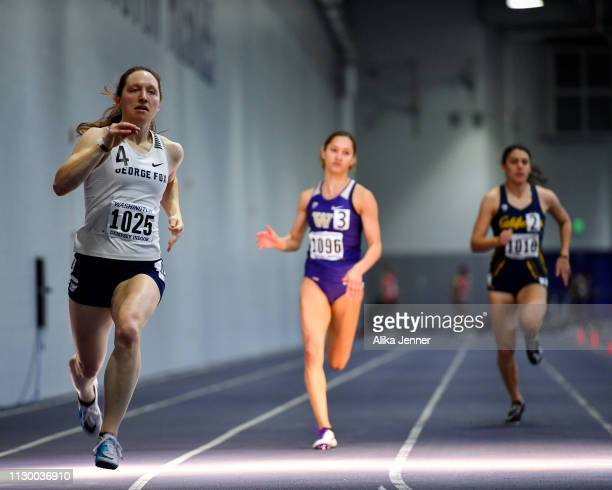 Sarah King of George Fox competes in the women's 400 meter at Dempsey Indoor Center on February 15 2019 in Seattle Washington