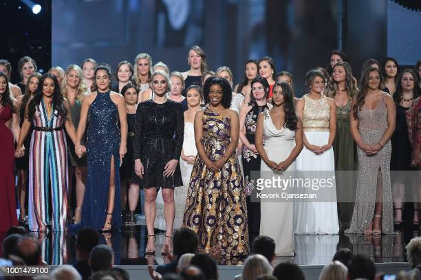 Sarah Klein Tiffany Thomas Lopez Aly Raisman and recipients of the Arthur Ashe Award for Courage speak onstage at The 2018 ESPYS at Microsoft Theater...