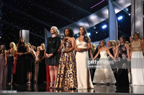 Sarah Klein Tiffany Thomas Lopez Aly Raisman and the other recipients of the Arthur Ashe Award for Courage accept their award onstage at The 2018...