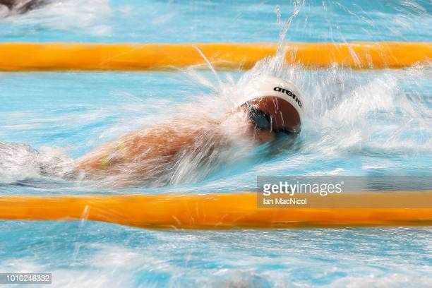 Sarah Koehler of Germany competes during the heats of the Women's 800m Freestyle on Day Two of the European Championships Glasgow 2018 at Tollcross...