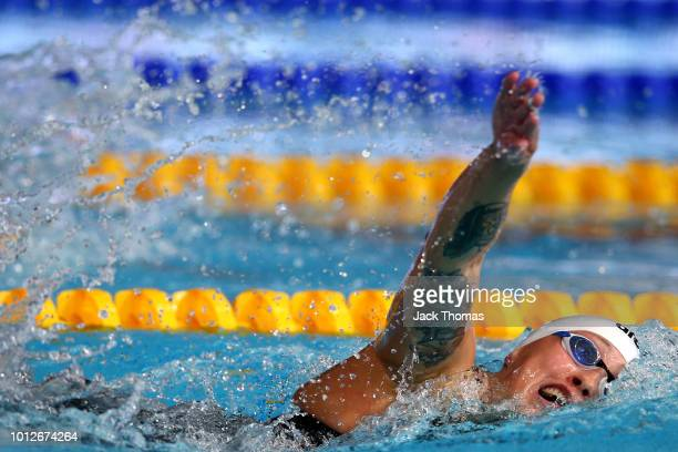 Sarah Koehler of Germany competes in the Women's 1500m Freestyle Final during the swimming on Day six of the European Championships Glasgow 2018 at...