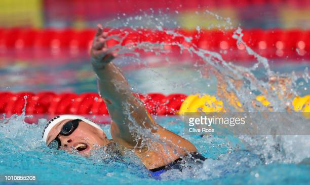 Sarah Koehler of Germany competes in the Women's 800m Freestyle Swimming Final on Day three of the European Championships Glasgow 2018 at Tollcross...
