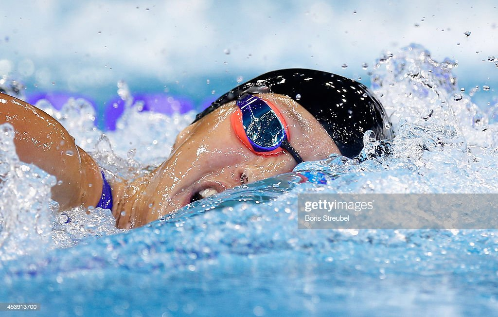 Sarah Koehler of Germany competes in the womens's 800m freestyle final during day 9 of the 32nd LEN European Swimming Championships 2014 at Europa-Sportpark on August 21, 2014 in Berlin, Germany.