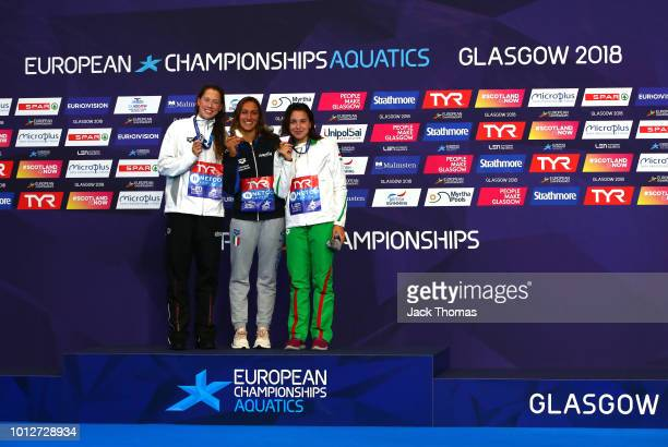 Sarah Koehler of Germany Simona Quadarella of Italy and Ajna Kesely of Hungary pose with their medals after the Women's 1500m Freestyle Final during...