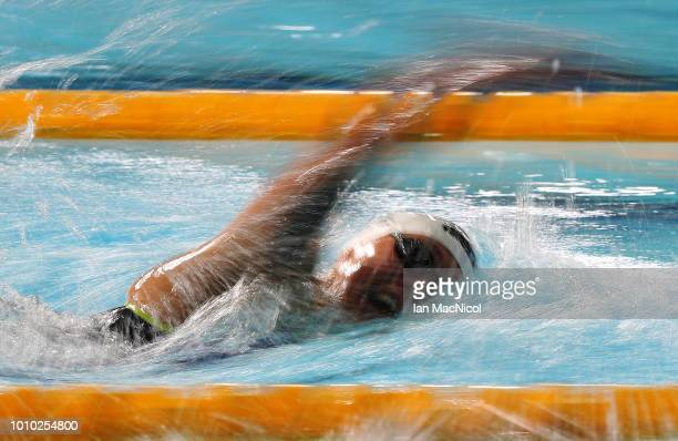 Sarah Koehler of Spain competes during the heats of the Women's 800m Freestyle on Day Two of the European Championships Glasgow 2018 at Tollcross...
