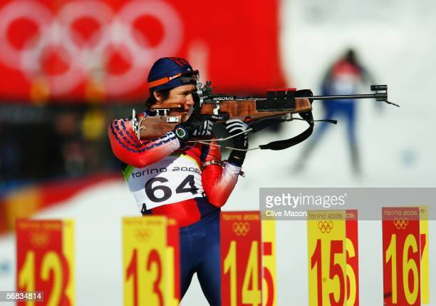Sarah Konrad of the United States of America competes in the Womens Biathlon 15km Individual Final on Day 3 of the 2006 Turin Winter Olympic Games on...