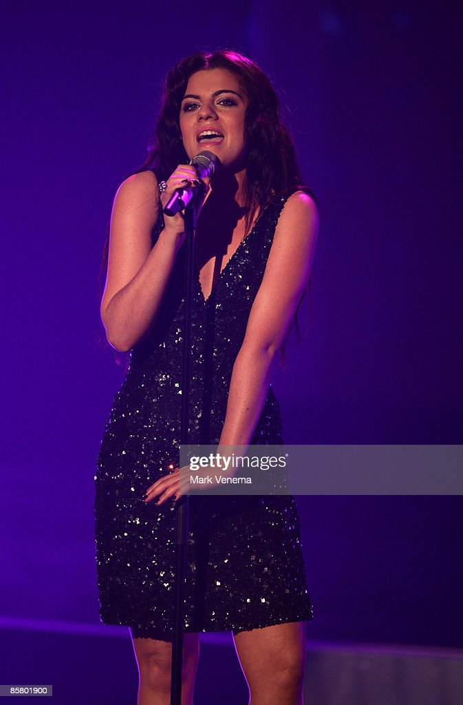 Sarah Kreuz performs a song during the rehearsal for the singer qualifying contest DSDS 'Deutschland sucht den Superstar' 4th motto show on April 4, 2009 in Cologne, Germany.