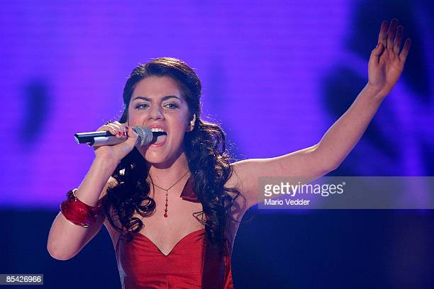 Sarah Kreuz performs a song during the rehearsel for the singer qualifying contest DSDS 'Deutschland sucht den Superstar' motto show on March 14 2009...