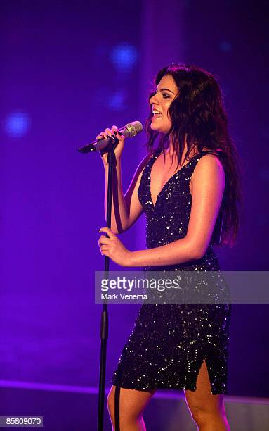 Sarah Kreuz performs a song during the rehearsel for the singer qualifying contest DSDS 'Deutschland sucht den Superstar' 4th motto show on April 4...