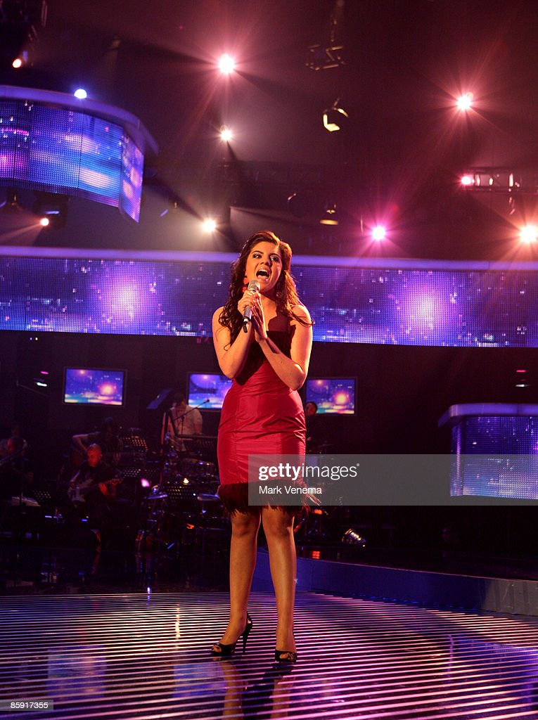 Sarah Kreuz performs her song during the rehearsal for the singer qualifying contest DSDS 'Deutschland sucht den Superstar' 5th motto show on April 11, 2009 in Cologne, Germany.