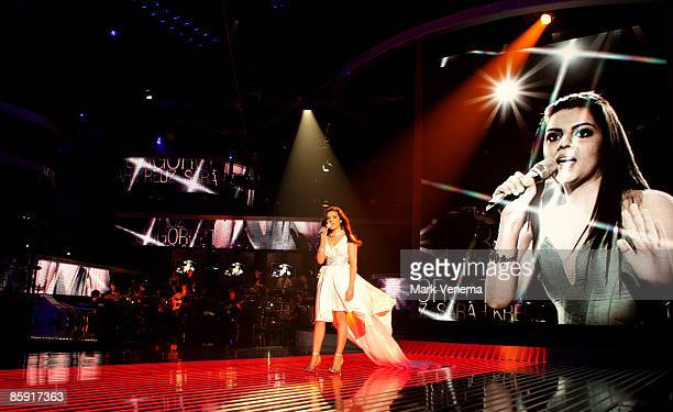 Sarah Kreuz performs her song during the rehearsal for the singer qualifying contest DSDS 'Deutschland sucht den Superstar' 5th motto show on April...