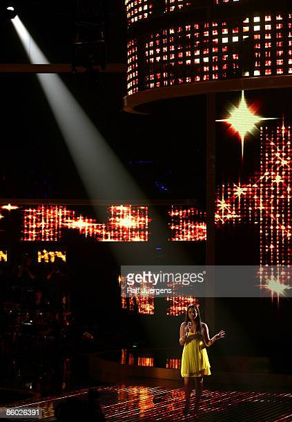 Sarah Kreuz performs her song during the rehearsal for the singer qualifying contest DSDS 'Deutschland sucht den Superstar' 6th motto show on April...