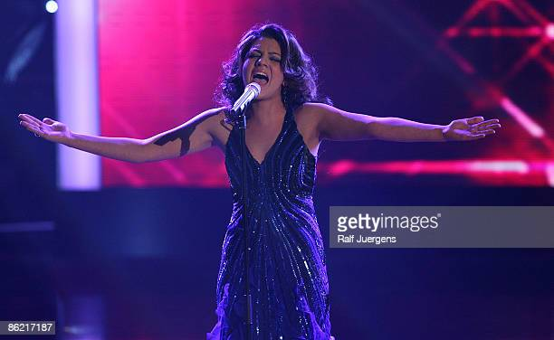 Sarah Kreuz performs her song during the rehearsal for the singer qualifying contest DSDS 'Deutschland sucht den Superstar' 7th motto show on April...