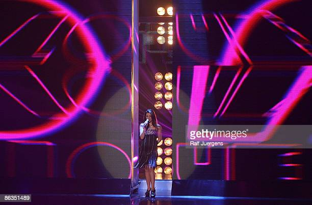 Sarah Kreuz performs her song during the rehearsal for the singer qualifying contest DSDS 'Deutschland sucht den Superstar' semi final show on May 02...