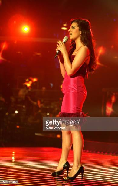 Sarah Kreuz performs her song during the rehearsel for the singer qualifying contest DSDS 'Deutschland sucht den Superstar' 5th motto show on April...