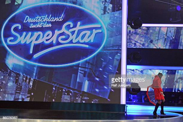 Sarah Kreuz performs her song during the rehearsel for the singer qualifying contest DSDS 'Deutschland sucht den Superstar' 6th motto show on April...