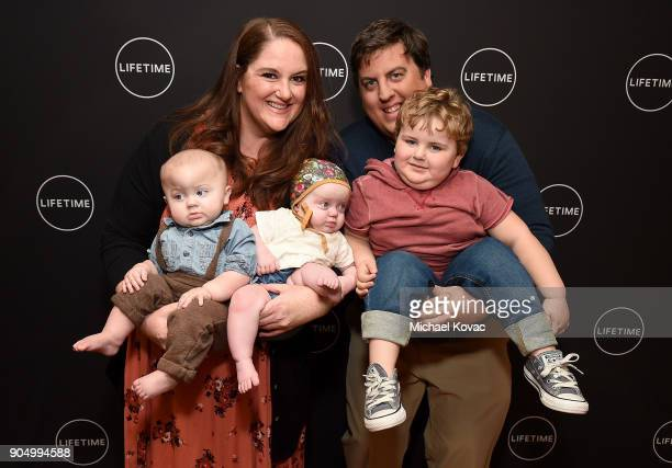 Sarah Krieg and Dan Krieg pose with their children Walter Mabel and Lloyd at AE Networks' 2018 Winter Television Critics Association Press Tour at...