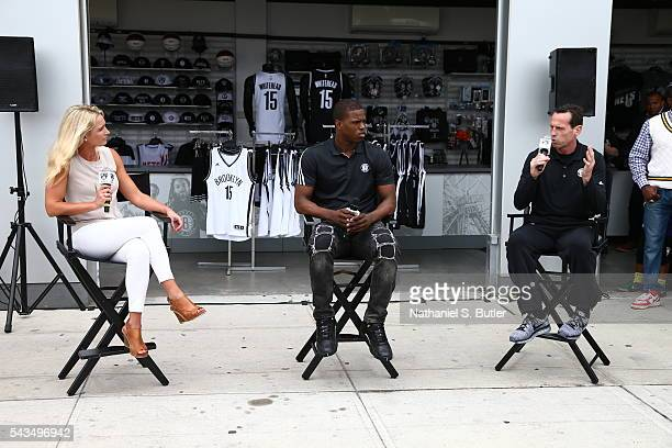 Sarah Kustok interviews Brooklyn Nets 2016 Draft Pick Isaiah Whitehead and head coach Kenny Atkinson during the press conference on June 28 2016 at...