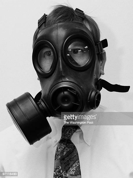 Sarah L Voisin DATE 10/9/2001 Invididual shots of 9 gas masks at Geomet Division Versar Corp in Germantown MD PICTURED The British Army Avon s10 mask...