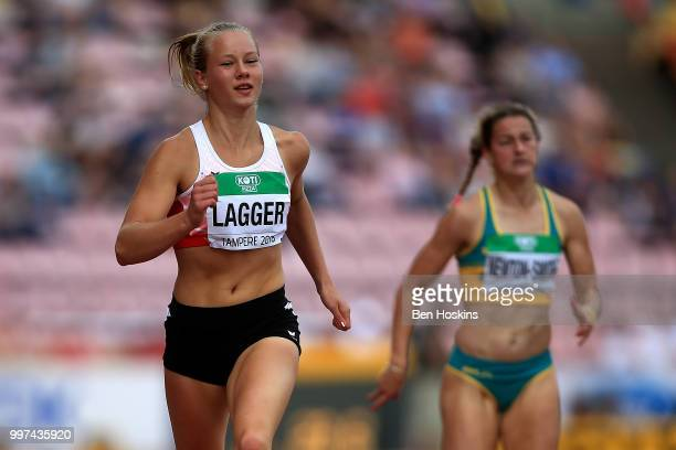 Sarah Lagger of Austria in action during heat 3 of the women's heptathlon 200m on day three of The IAAF World U20 Championships on July 12 2018 in...