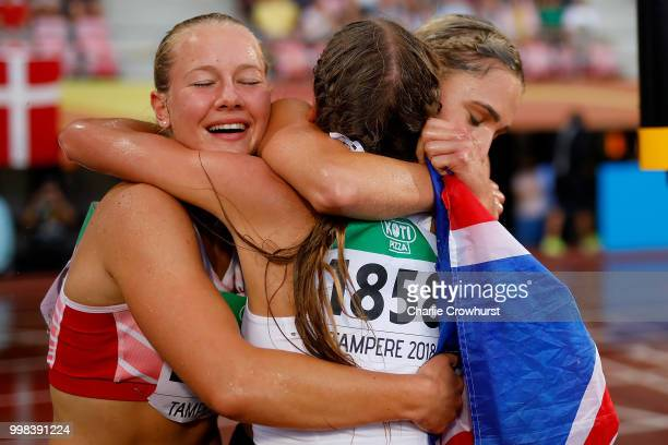 Sarah Lagger of Austria Niamh Emerson of Great Britain and Adrianna Sulek of Poland celebrate winning medals in the women's heptathlon on day five of...