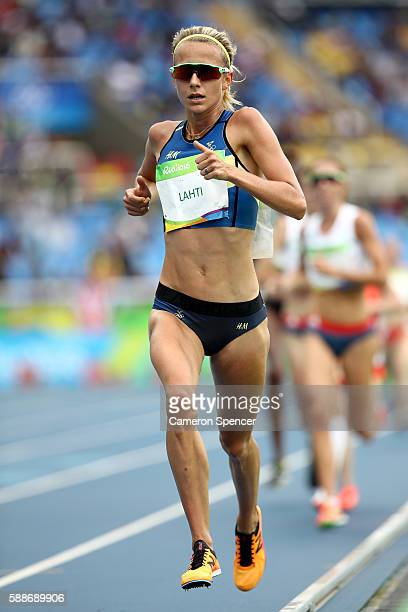 Sarah Lahti of Sweden competes in the Women's 10000 metres final on Day 7 of the Rio 2016 Olympic Games at the Olympic Stadium on August 12 2016 in...