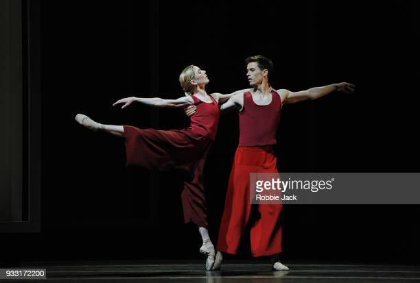 Sarah Lamb and Calvin Richardson in the Royal Ballet's production of Wayne McGregor's Yugen at the Royal Opera House on March 15 2018 in London...