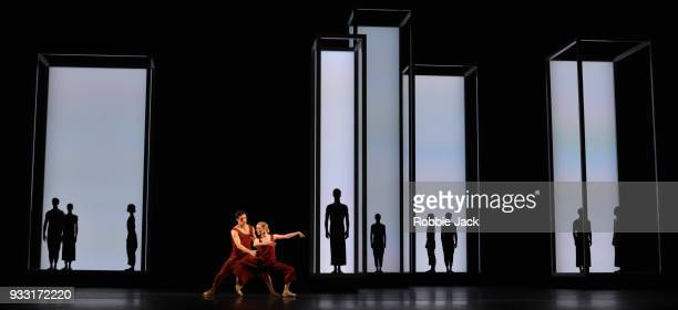 Sarah Lamb and Federico Bonelli with artists of the company in the Royal Ballet's production of Wayne McGregor's Yugen at the Royal Opera House on...