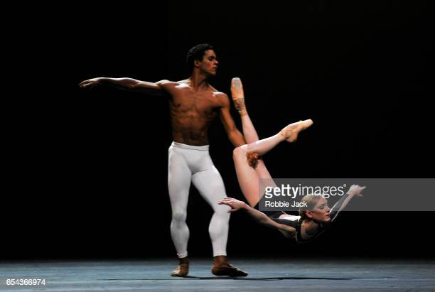 Sarah Lamb and Marcelino Sambe in the Royal Ballet's production of David Dawson's The Human Seasons at the Royal Opera House on March 14 2017 in...