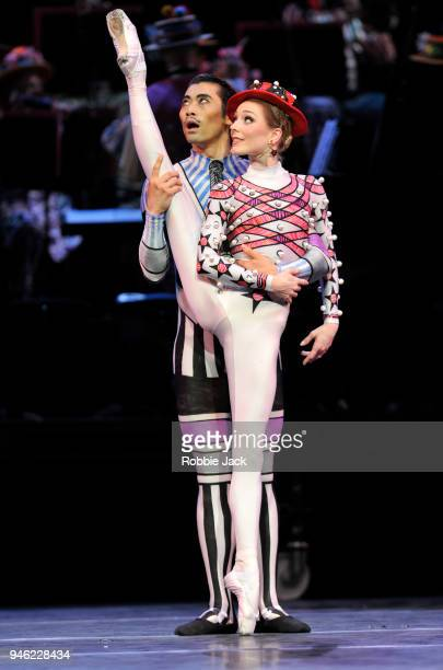 Sarah Lamb and Ryoichi Hirano in the Royal Ballet's production of Kenneth MacMillan's Elite Syncopations at The Royal Opera House on April 13 2018 in...