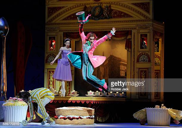 Sarah Lamb as Alice Steven McRae as The Mad Hatter and Ricardo Cervera as March Hare in the Royal Ballet's production of Christopher Wheeldon's...
