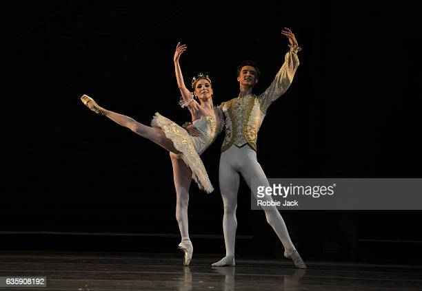 Sarah Lamb as Princess Aurora and Vadim Muntagirov as Prince Florimund in the Royal Ballet's production of Marius Petipa's The Sleeping Beauty at The...