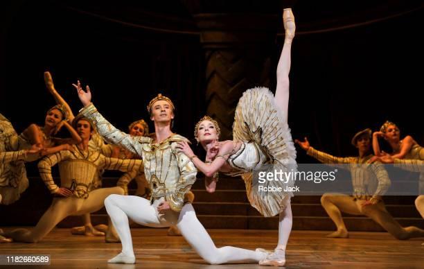 Sarah Lamb as Raymonda and Vadim Muntagirov with artists of the company in The Royal Ballet's production of Rudolf Nureyev's Raymonda Act IIII at The...