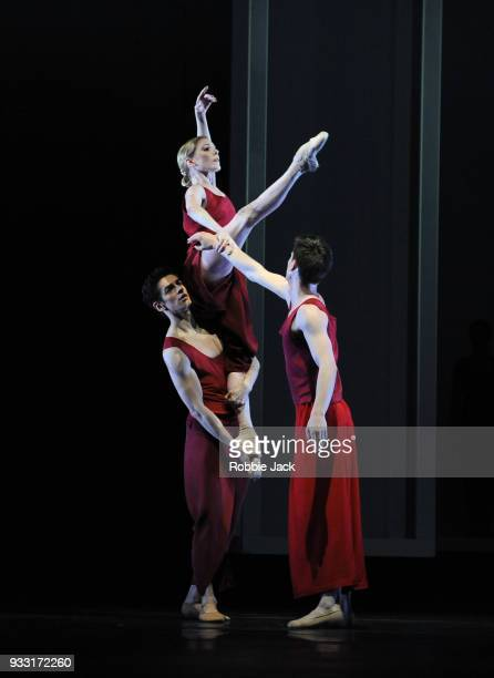 Sarah Lamb Federico Bonelli and Calvin Richardson in the Royal Ballet's production of Wayne McGregor's Yugen at the Royal Opera House on March 15...