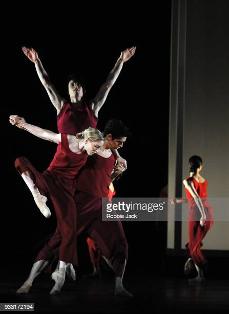 Sarah Lamb Federico Bonelli and Calvin Richardson with artists of the company in the Royal Ballet's production of Wayne McGregor's Yugen at the Royal...