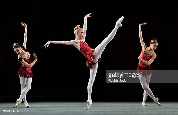 Sarah Lamb with artists of the company in the Royal Ballet's production of George Balanchine's Jewels at the Royal Opera House Covent Garden in...