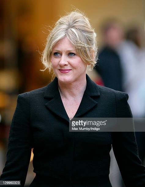 Sarah Lancashire attends the funeral of 'Coronation Street' actress Betty Driver at St Ann's Church on October 22 2011 in Manchester England