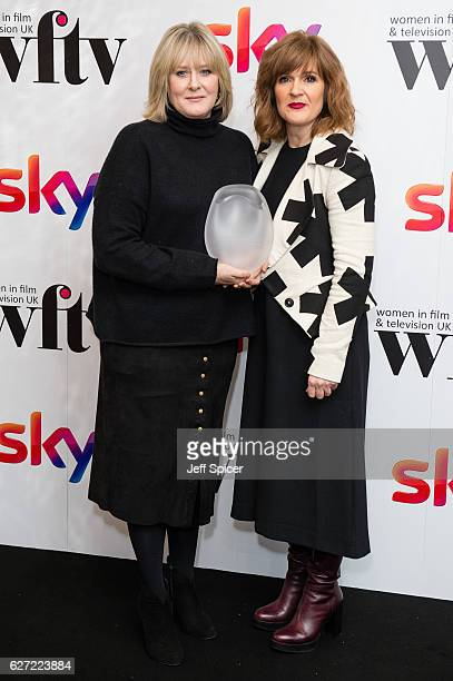 Sarah Lancashire winner of the Best Performance Award with Siobhan Finneran at the Sky Women In Film TV Awards at London Hilton on December 2 2016 in...