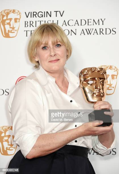 Sarah Lancashire winner of the Leading Actress award for Happy Valley poses in the Winner's room at the Virgin TV BAFTA Television Awards at The...