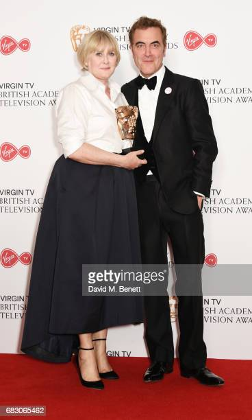 Sarah Lancashire winner of the Leading Actress award for 'Happy Valley' and James Nesbitt pose in the Winner's room at the Virgin TV BAFTA Television...
