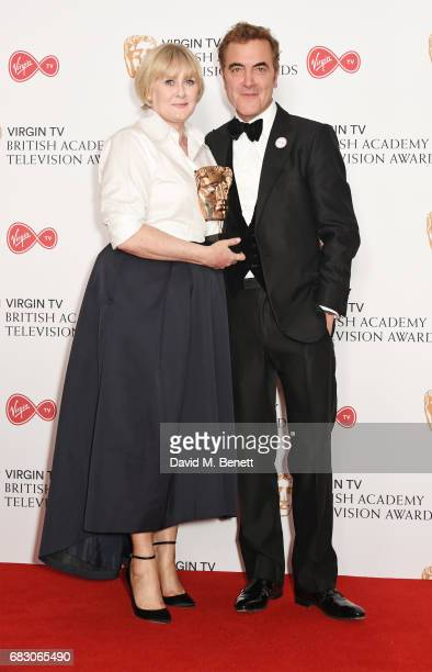 Sarah Lancashire winner of the Leading Actress award for Happy Valley and James Nesbitt pose in the Winner's room at the Virgin TV BAFTA Television...