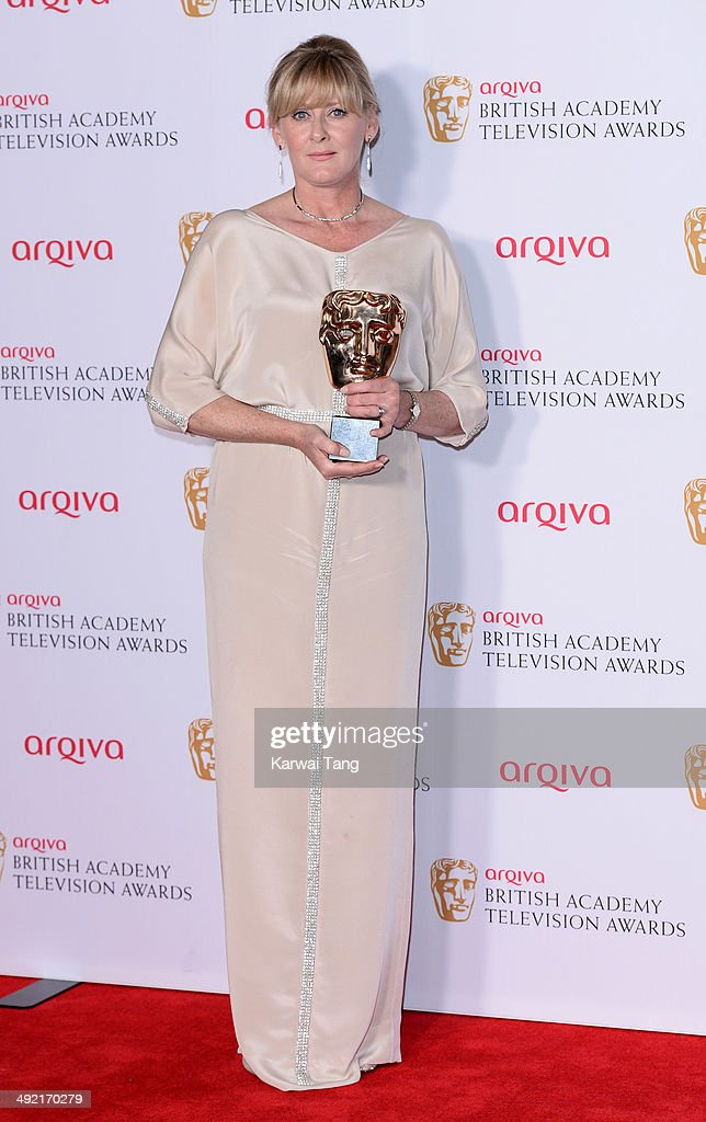 Sarah Lancashire with the Supporting Actress Award for Last Tango in Halifax, at the Arqiva British Academy Television Awards held at the Theatre Royal on May 18, 2014 in London, England.