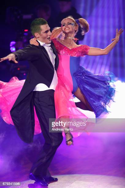 Sarah Latton and Maxi Arland perform on stage during the 7th show of the tenth season of the television competition 'Let's Dance' on May 5 2017 in...