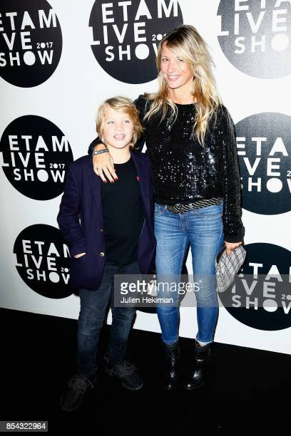 Sarah Lavoine and her son attend the Etam show as part of the Paris Fashion Week Womenswear Spring/Summer 2018 on September 26 2017 in Paris France