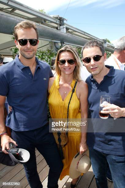 Sarah lavoine standing between MarcOlivier Fogiel and his husband Francois Roelants attend the Men Final of the 2017 French Tennis Open Day Fithteen...