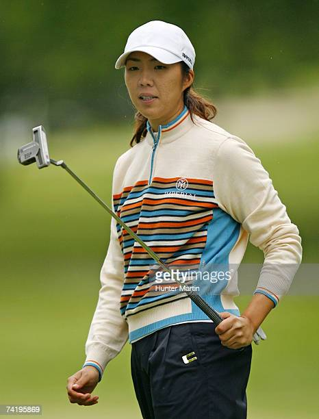 Sarah Lee of South Korea watches her putt miss the hole on the 17th green during the third round of the LPGA Sybase Classic at Upper Montclair...