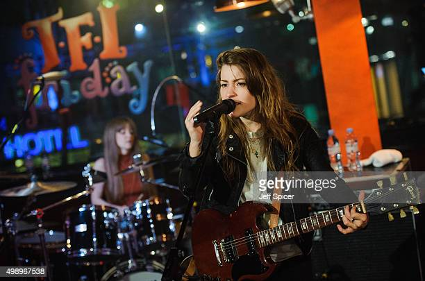 Sarah LeighShaw and Kirsty Lowrey from The Pearl Harts during a live broadcast of 'TFI Friday' on November 27 2015 in London England