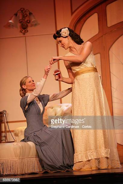 Sarah Lelouch and Eglantine Emeye as Miss Beting and Viviane Duverger in the play 'Un Fil à la Patte' by Feydeau adapted by Olivier Minne and...