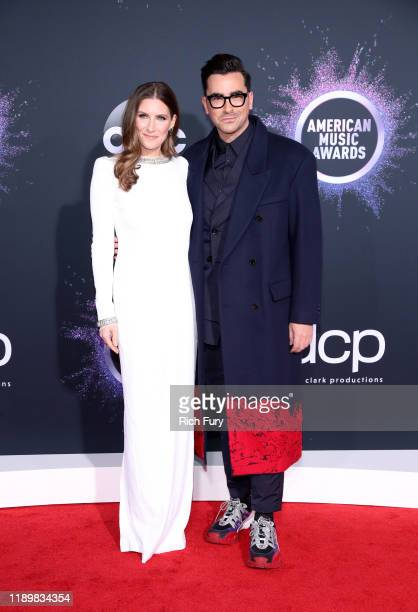 Sarah Levy and Dan Levy attend the 2019 American Music Awards at Microsoft Theater on November 24 2019 in Los Angeles California