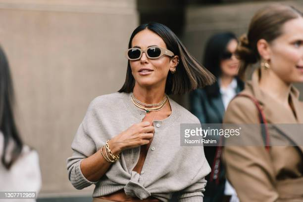 Sarah Lew at Melbourne Fashion Festival at National Gallery of Victoria on March 17, 2021 in Melbourne, Australia.